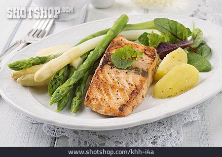 Grooved, Asparagus, Salmon