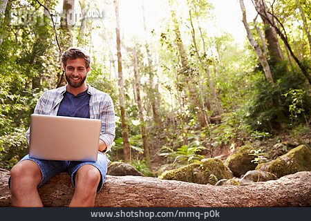 Young Man, Mobile Communication, Vacation, Laptop