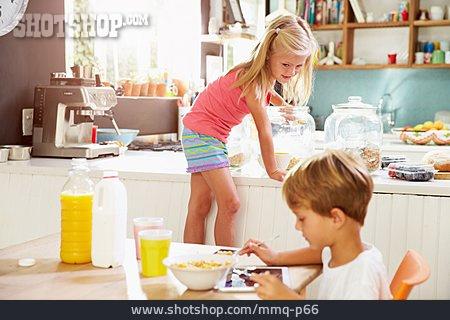 Home, Breakfast, Cereal, Dining Table, Siblings