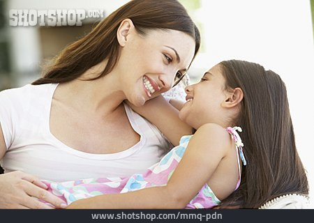 Mother, Loving, Daughter, Looking At Each Other