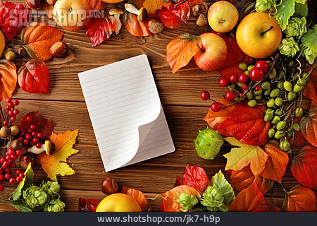 Copy Space, Autumn, Notepad