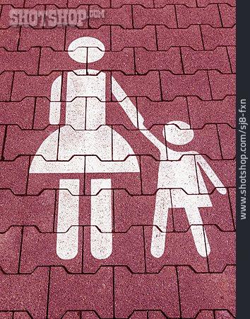 Child, Mother, Pedestrian, Pictogram