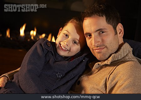 Father, Daughter, Living Room, Cuddle