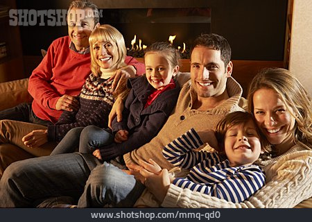 Home, Family, Fireplace, Family Portrait