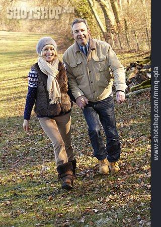 Autumn, Walk, Older Couple