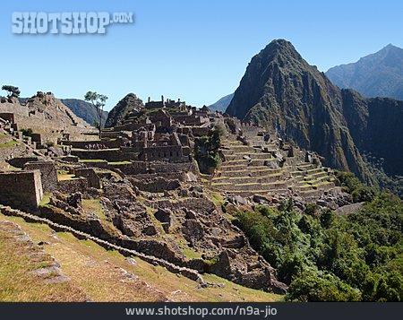 Old Ruin, Machu Picchu, Inca, Mt Huayna Picchu