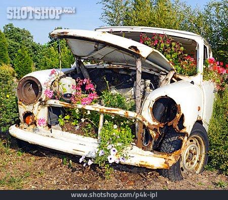 Car, Oldtimer, Car Wreck, Overgrown