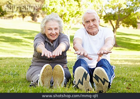 Stretching, Warming Up, Older Couple