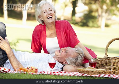Summer, Loving, Picnic, Older Couple