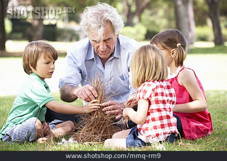 Grandfather, Fire Pit, Nature Relation, Grandchildren