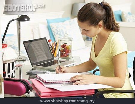 Teenager, Girl, Learning, Homework, Schoolgirl