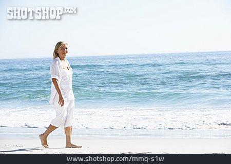 Senior, Relaxing, Beach Walking