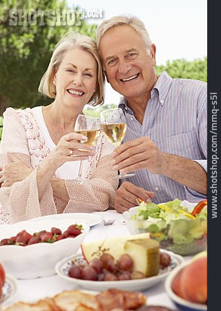Wine Glass, Toast, Older Couple