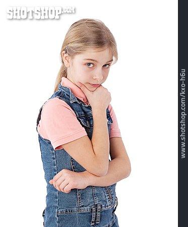 Girl, Serious, Thinking