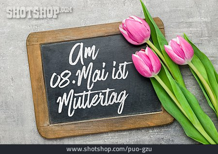 Mothers Day, Tulips, Blackboard
