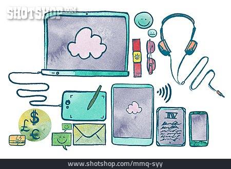 Mobile Communication, Cartoon, Cloud