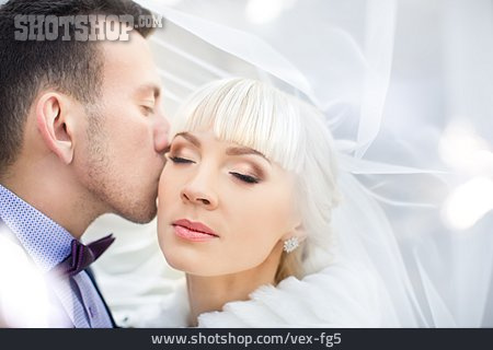 Kissing, Bridal Couple