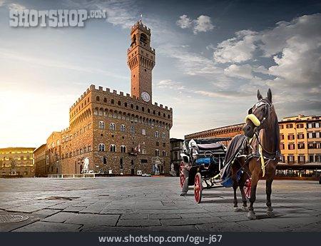 Florence, Horse Carriage, Palazzo Vecchio