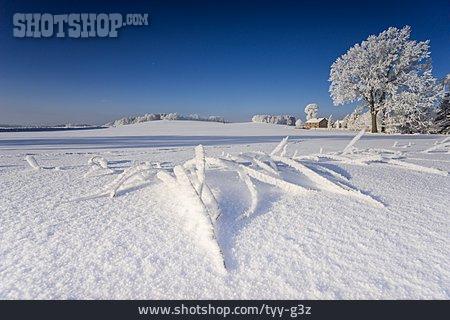 Rural Scene, Winter, Farmhouse