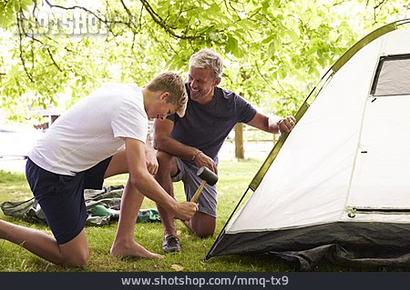 Father, Tent, Son, Camping