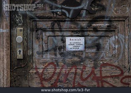 Shield, Graffiti, Wall Damaged