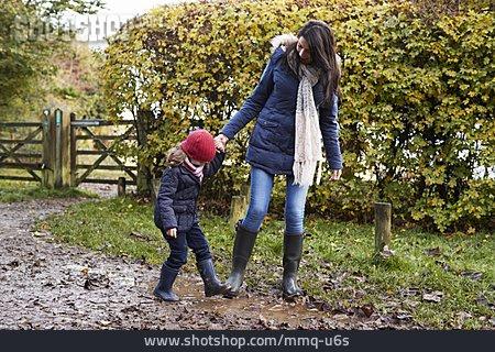 Mother, Autumn, Walk, Daughter, Mud