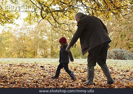 Grandfather, Autumn, Walk, Granddaughter