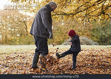 Grandfather, Walk, Leaves, Autumn Leaves, Granddaughter