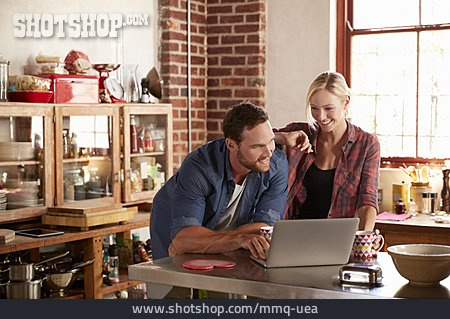 Couple, Home, Laptop, Planning