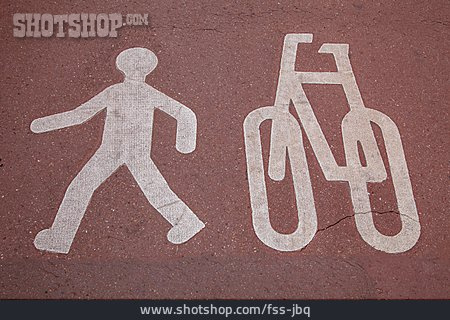 Bike Lane, Walk, Road Marking