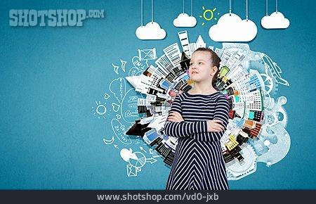 Child, Girl, Pensive, Dreams, Future, Fantasy