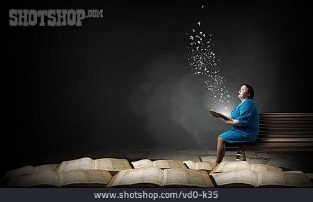 Woman, Education, Literature, Books, Amazement