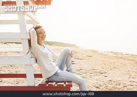 Girl, Happy, Beach Holiday