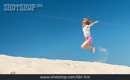Girl, Vitality, Jumping, Summer Vacation