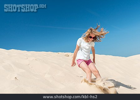 Child, Girl, Sand, Summer, Jump