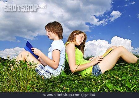 Girl, Friendship, Reading, Friends