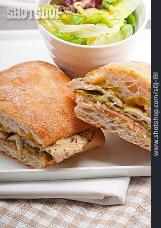 Breakfast, Baguette, Sandwich