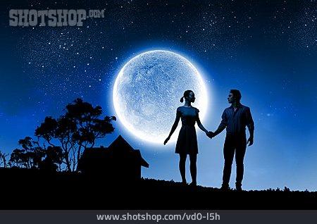 Love Couple, Full Moon, Hand In Hand