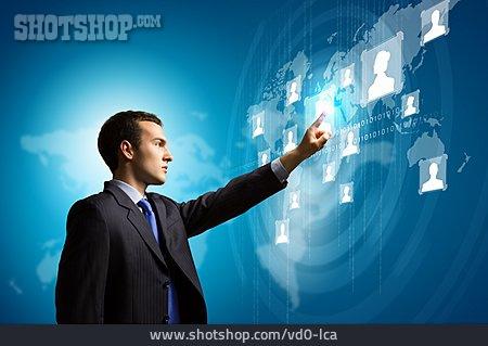 Businessman, Network, Contact, Touchscreen, User