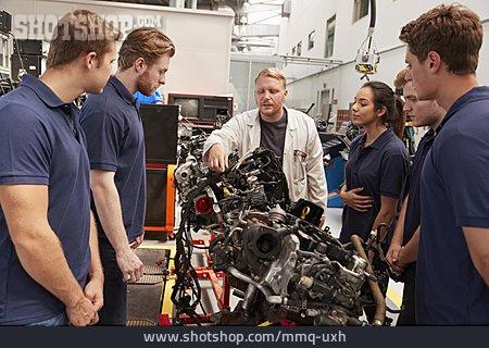 Engine, Apprentice, Explaining, Mechanic, Training Manager, Composition, Company