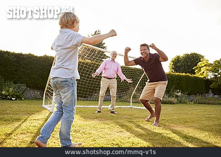 Grandson, Grandfather, Father, Togetherness, Soccer, Cheering