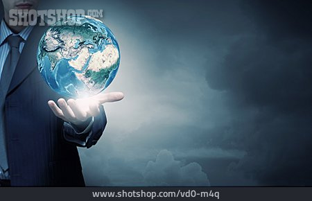 Businessman, Holding, Earth