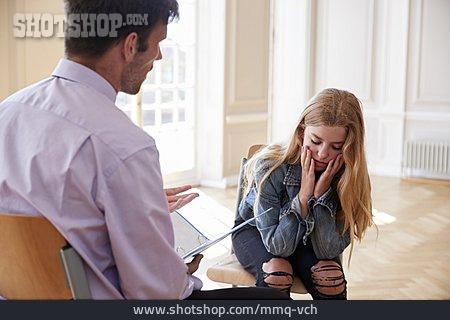 Worried, Interview, Schoolgirl, Teacher, Psychologist, School Problems