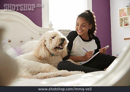 Girl, Friendship, Dog, Bonding, Labradoodle