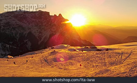 Sunset, South Tyrol, Dolomites, Schlern Mountain