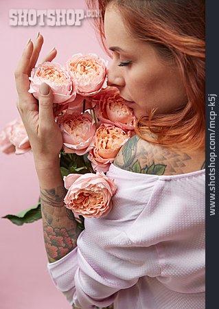 Woman, Scent, Bouquet, Smelling
