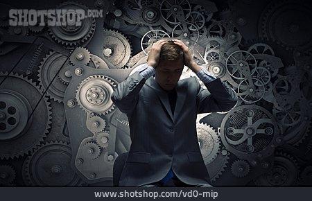 Businessman, Machine, Gears, Overwhelmed, Humans