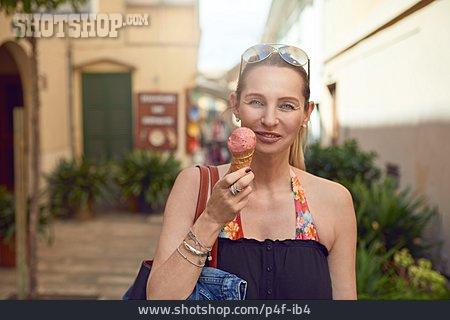 Woman, Ice, Vacation, Tourist