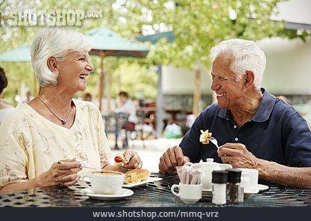 Sidewalk Cafe, Older Couple, Coffee And Cake