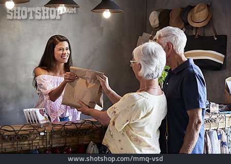 Shop, Shopping, Hand Over, Older Couple